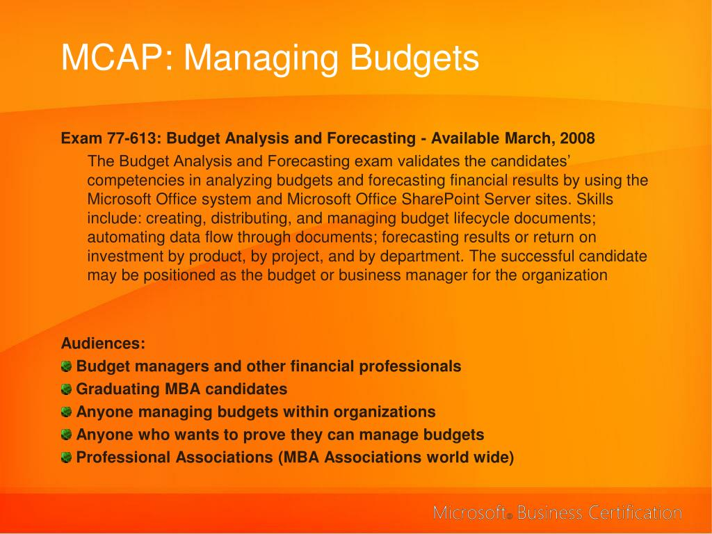 MCAP: Managing Budgets