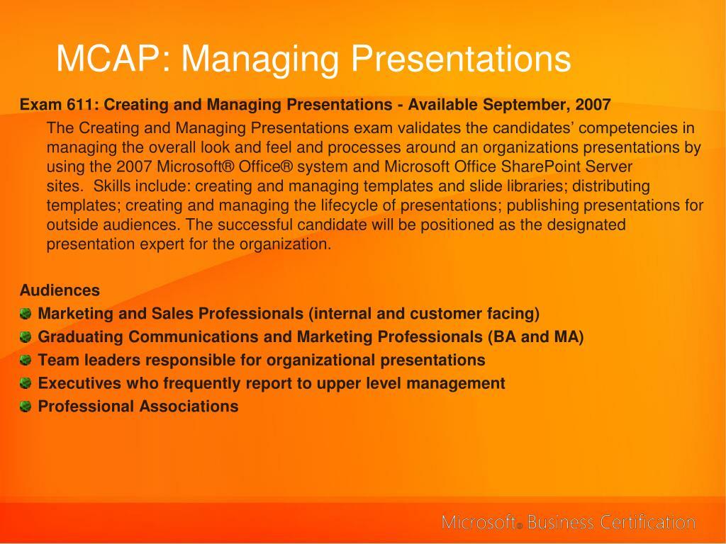 MCAP: Managing Presentations