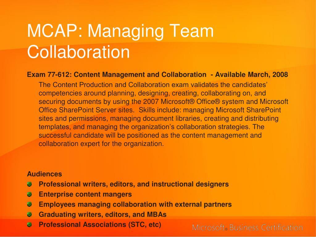 MCAP: Managing Team Collaboration