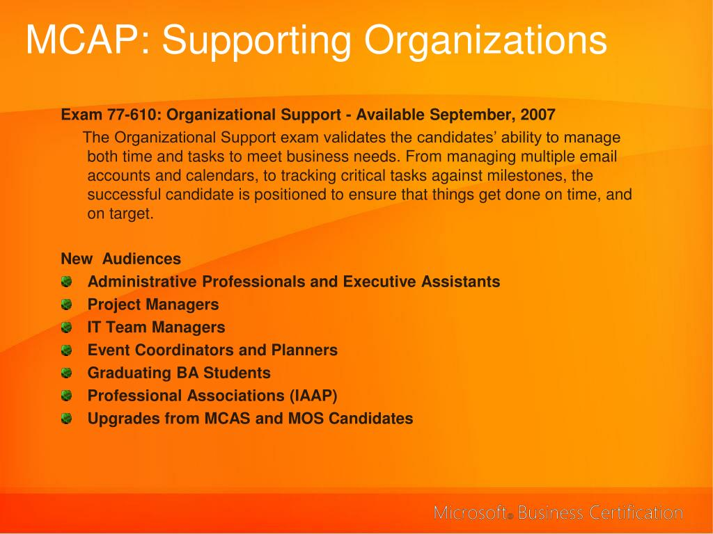 MCAP: Supporting Organizations
