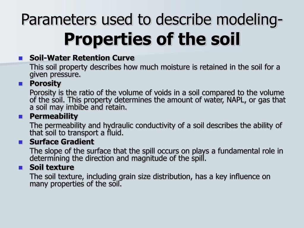 Parameters used to describe modeling-
