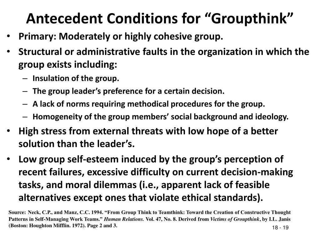 """Antecedent Conditions for """"Groupthink"""""""