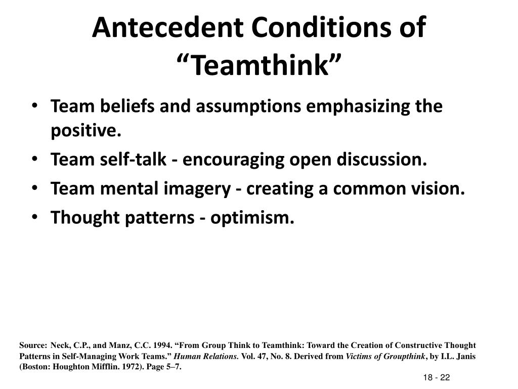 """Antecedent Conditions of """"Teamthink"""""""