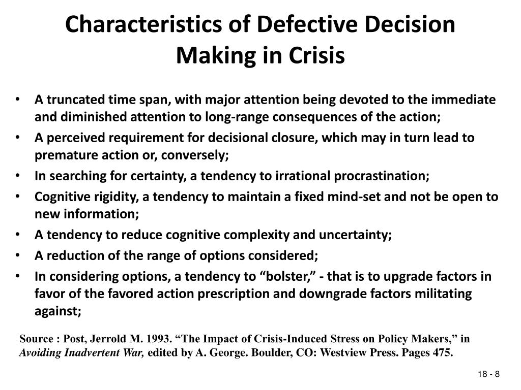 Characteristics of Defective Decision Making in Crisis