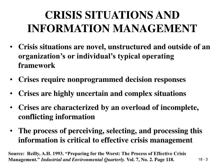 CRISIS SITUATIONS AND