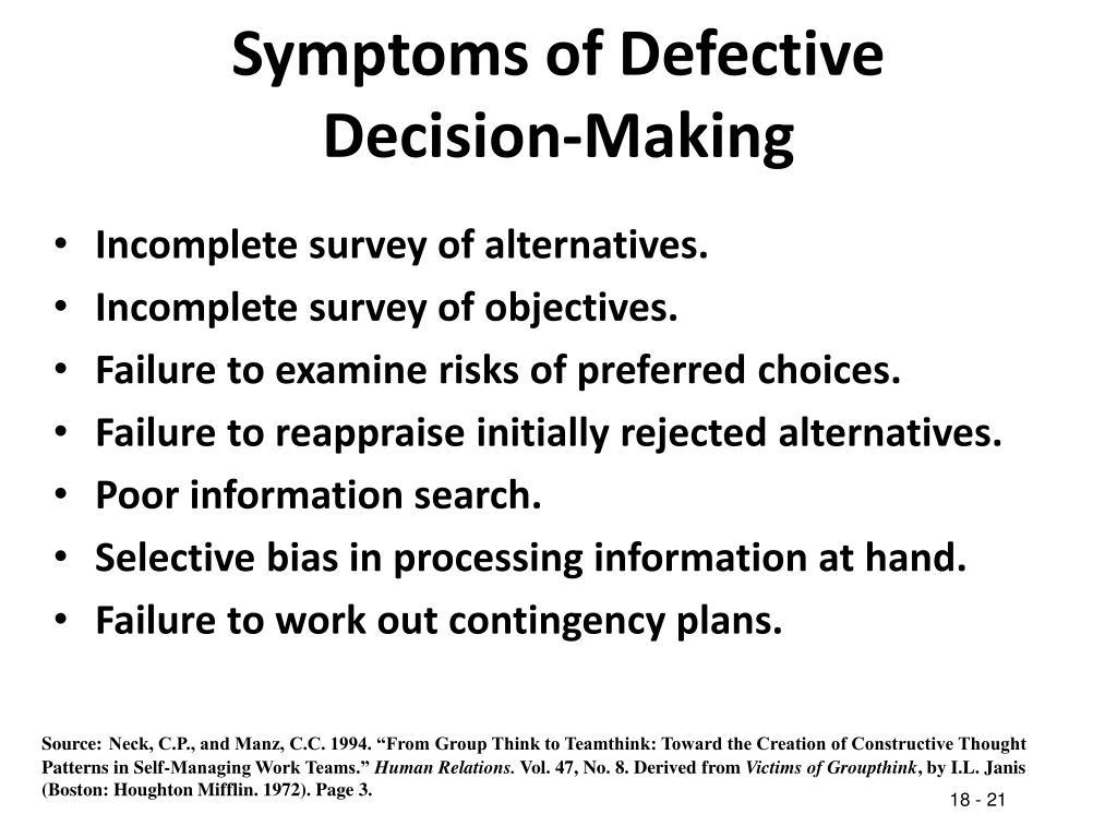 Symptoms of Defective Decision-Making