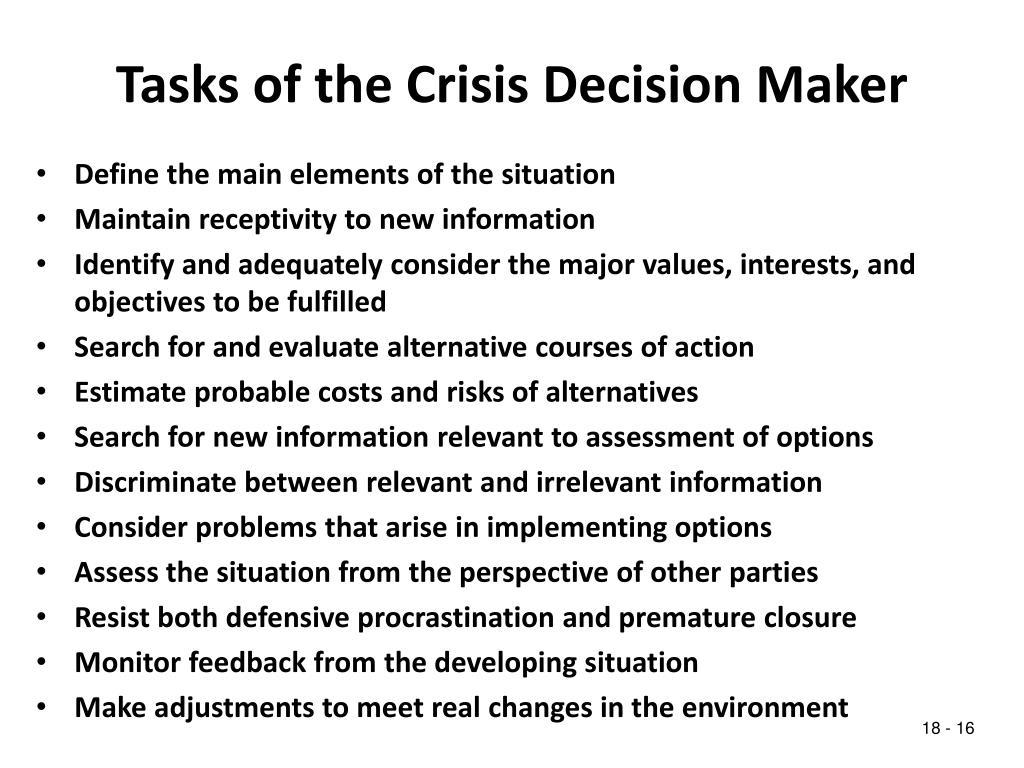 Tasks of the Crisis Decision Maker