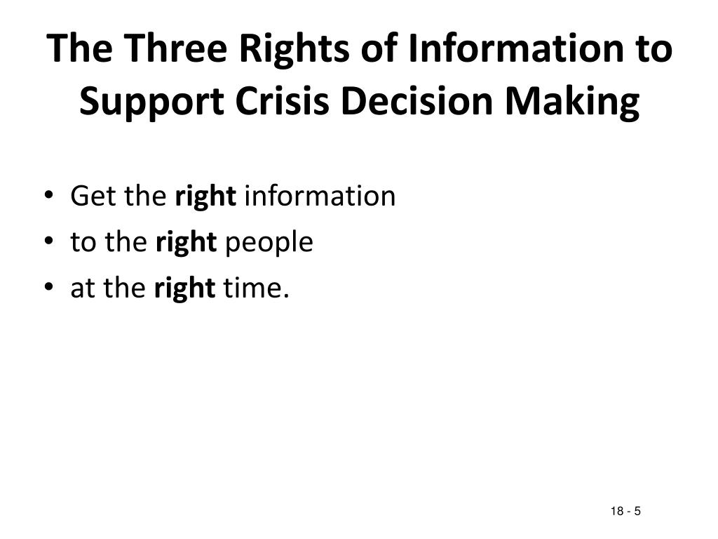 The Three Rights of Information to Support Crisis Decision Making