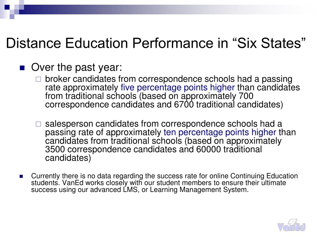 "Distance Education Performance in ""Six States"""