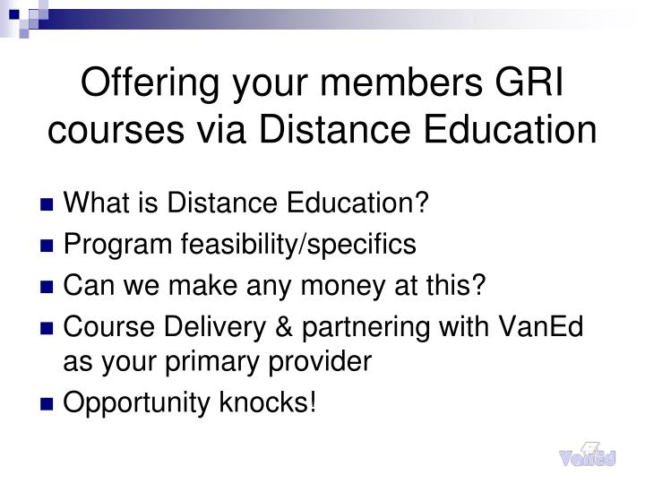 Offering your members gri courses via distance education