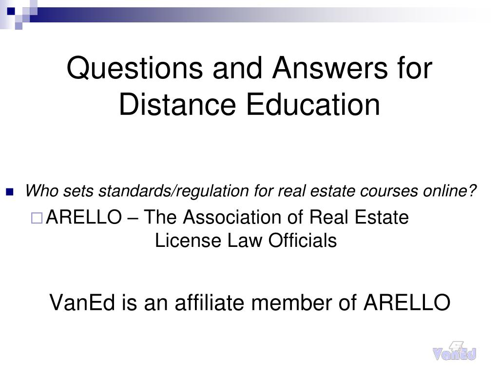 Questions and Answers for Distance Education