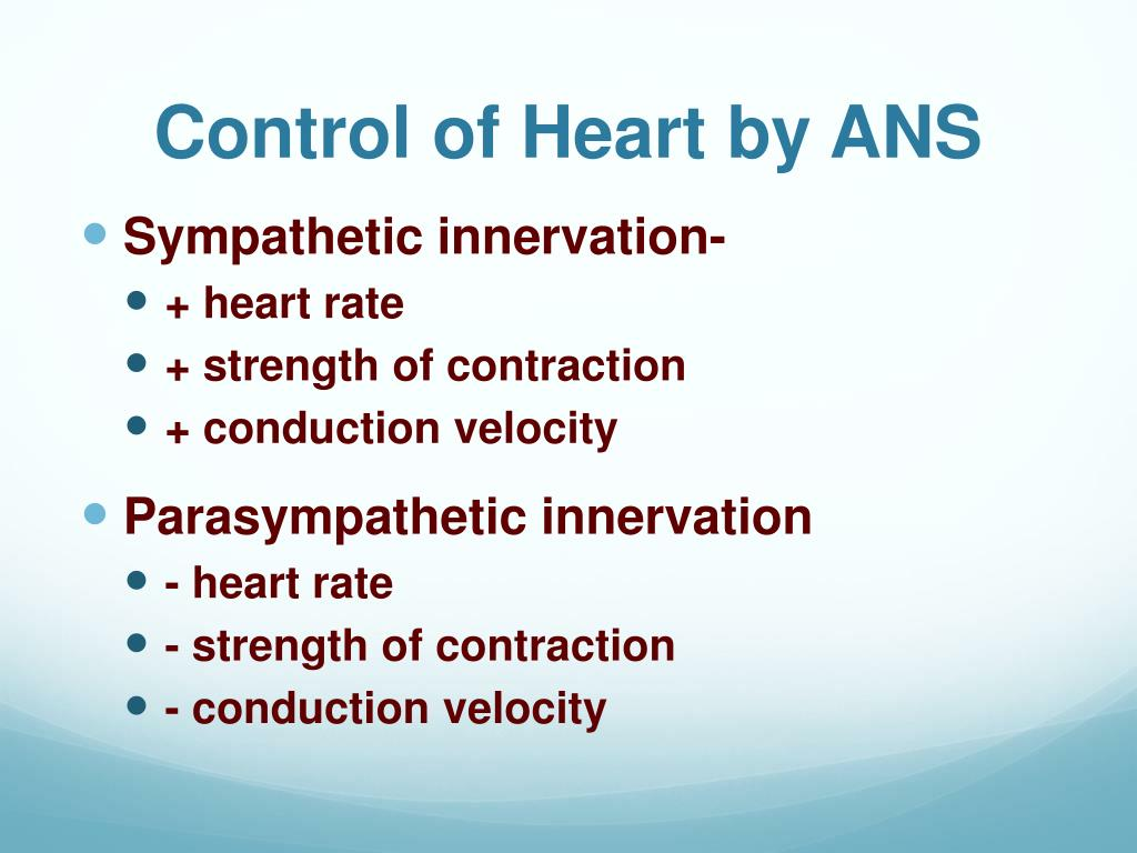 Control of Heart by ANS