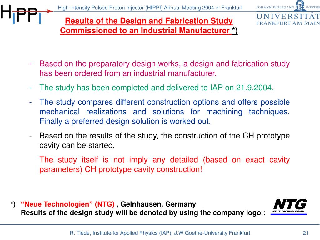 Results of the Design and Fabrication Study Commissioned to an Industrial Manufacturer