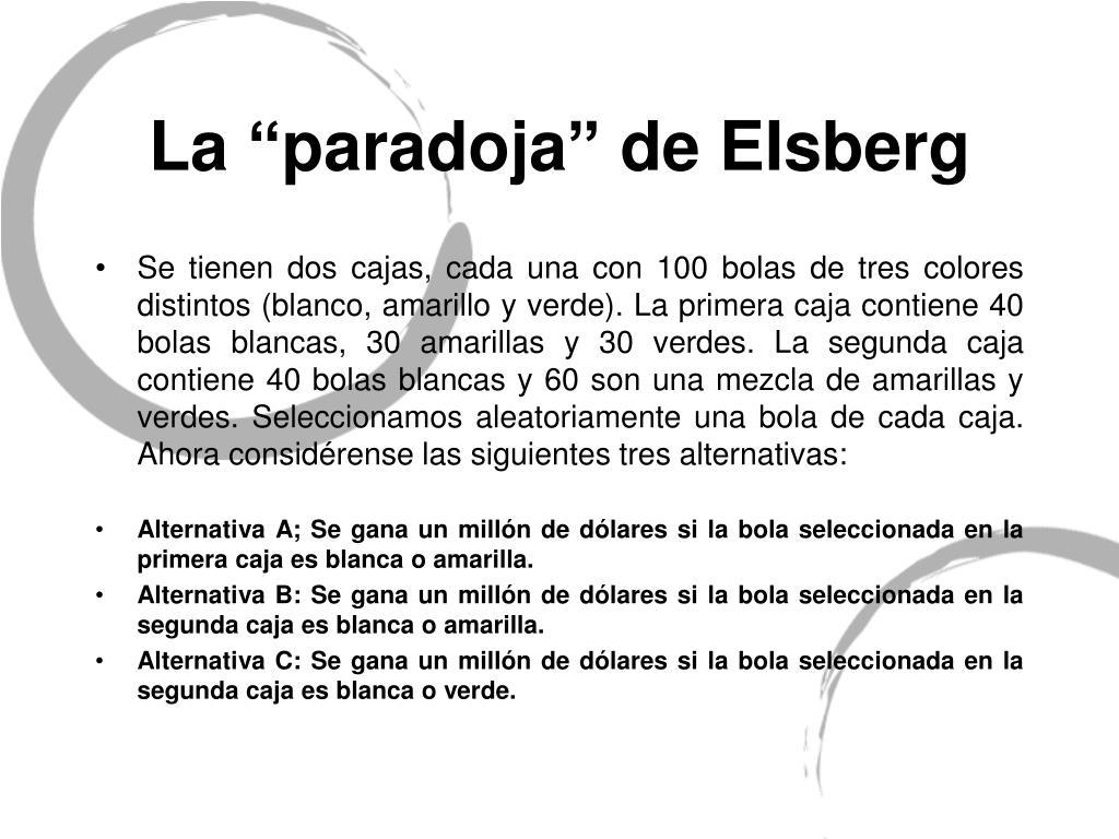 """La """"paradoja"""" de EIsberg"""