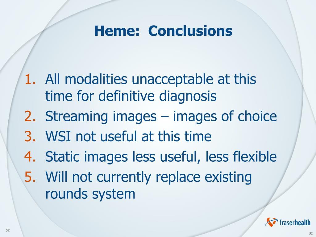 Heme:  Conclusions