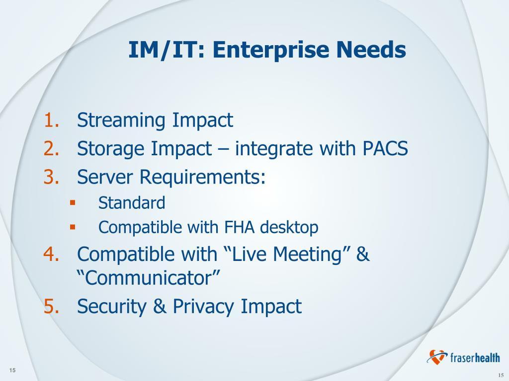 IM/IT: Enterprise Needs
