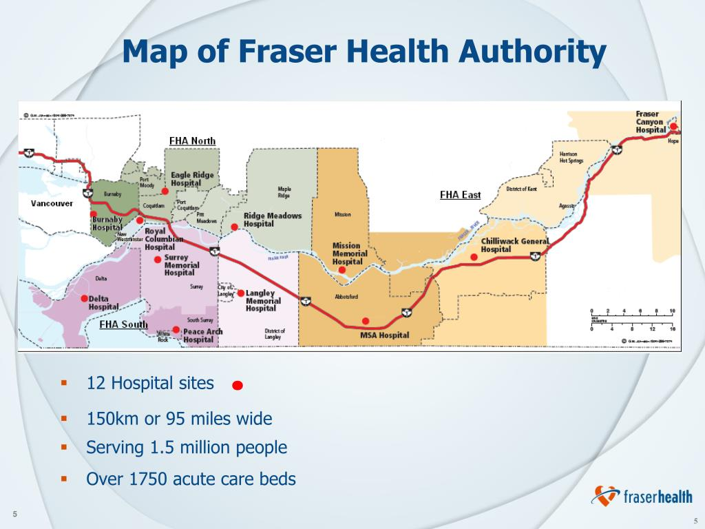 Map of Fraser Health Authority