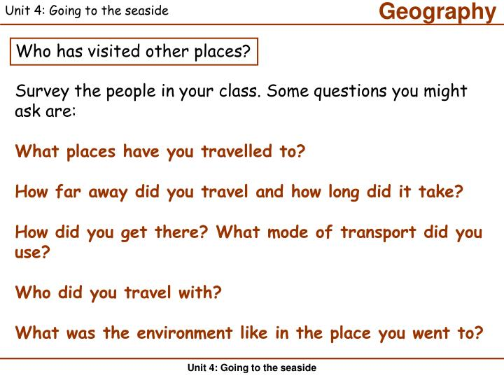 Unit 4: Going to the seaside