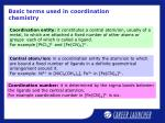 basic terms used in coordination chemistry
