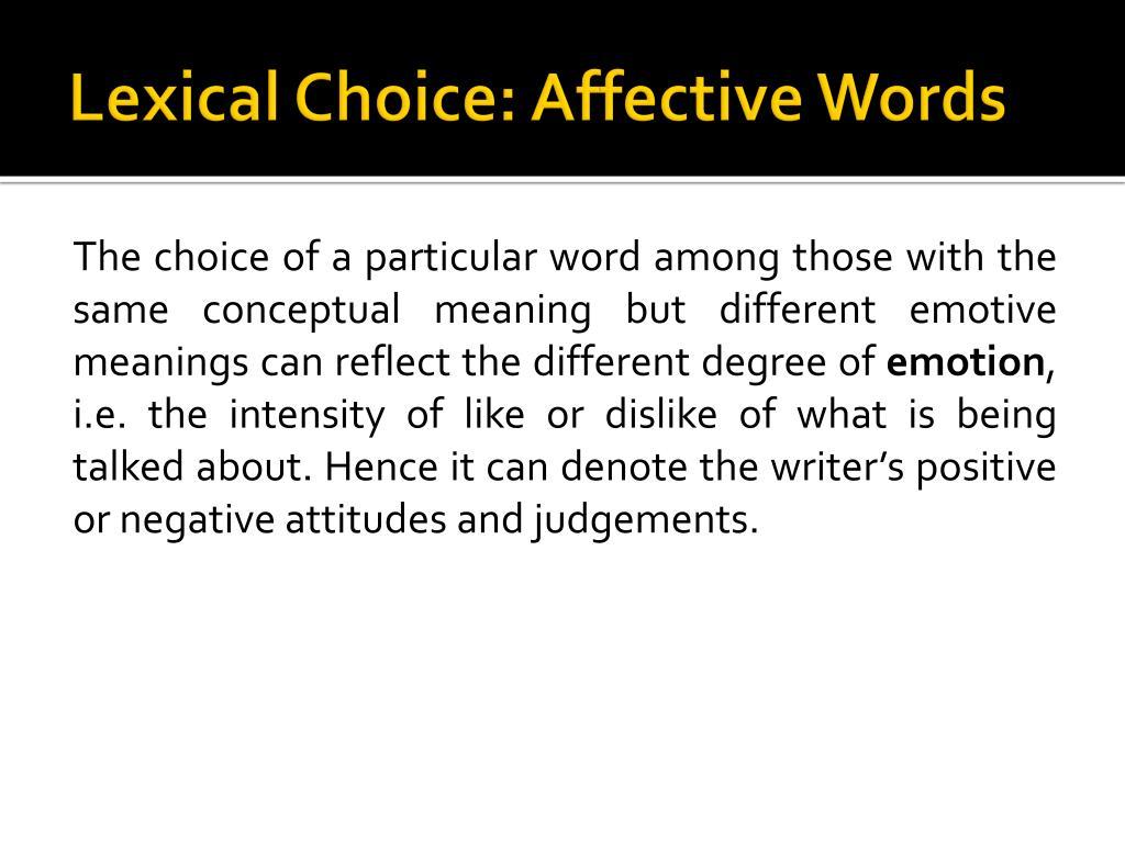 Lexical Choice: Affective Words