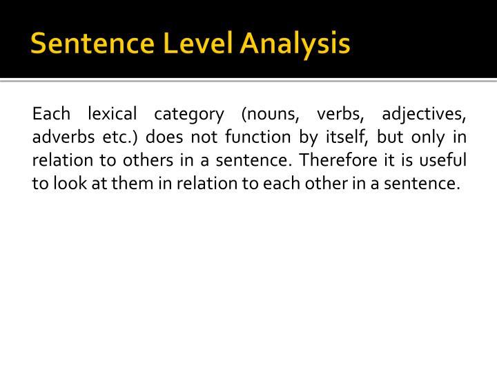 Sentence level analysis3