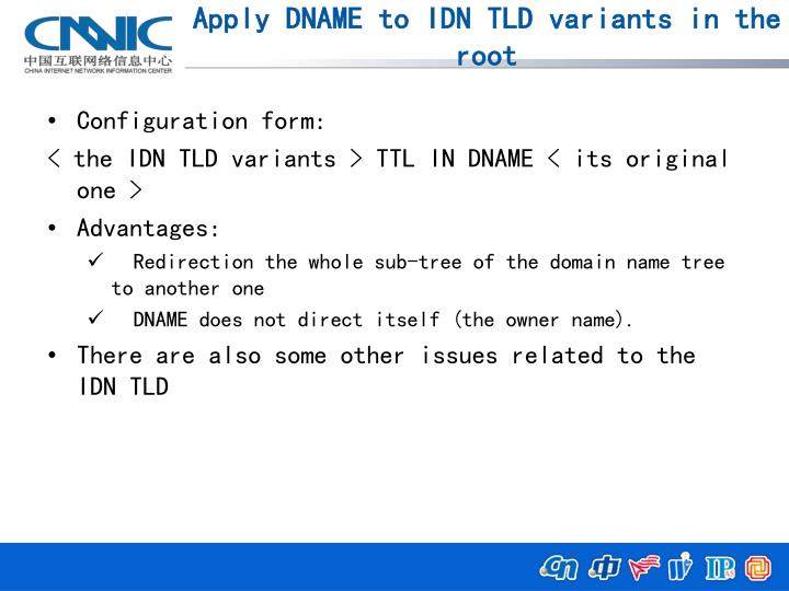 Apply DNAME to IDN TLD variants in the root