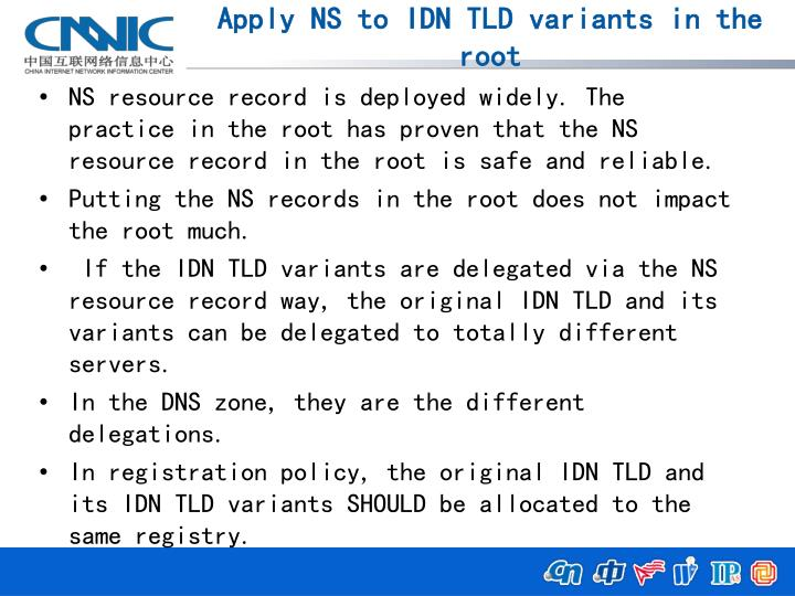 Apply NS to IDN TLD variants in the root