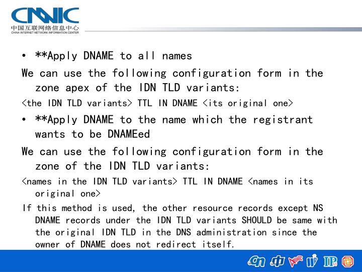 **Apply DNAME to all names