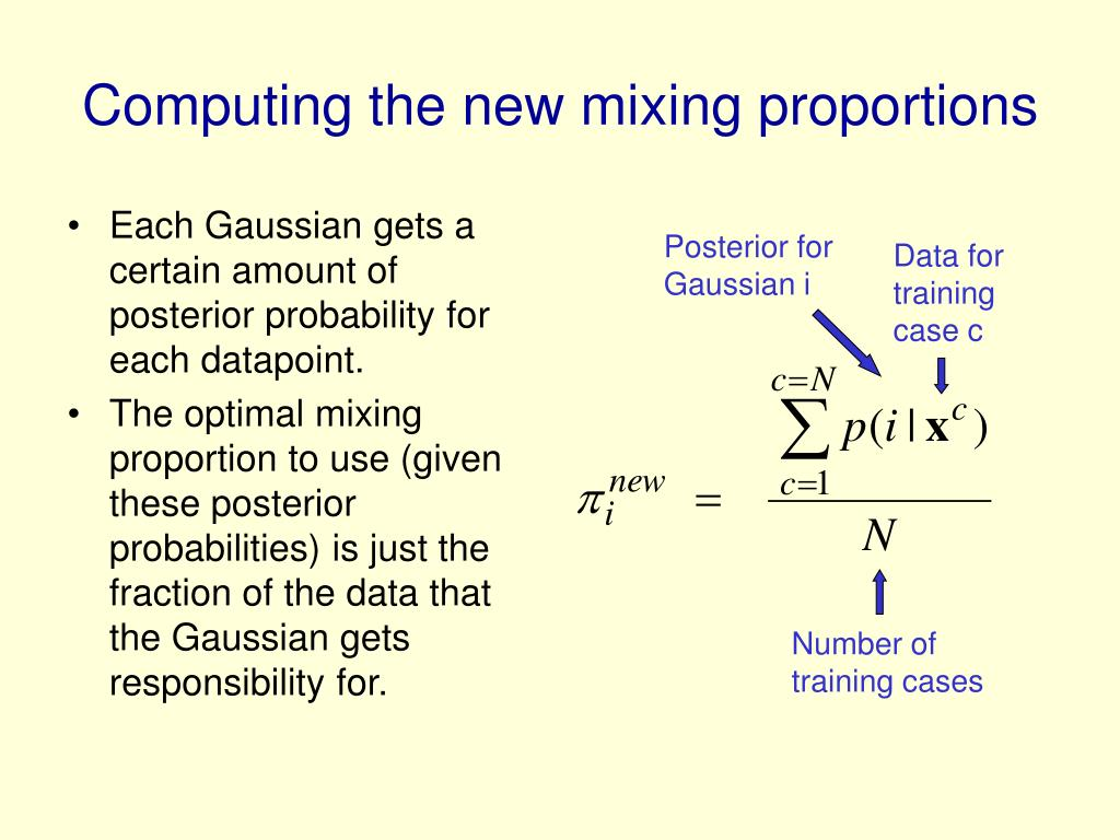 Computing the new mixing proportions