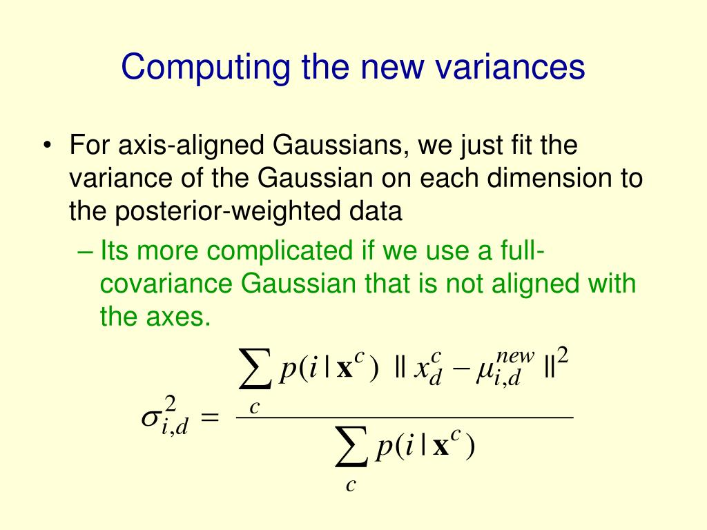 Computing the new variances