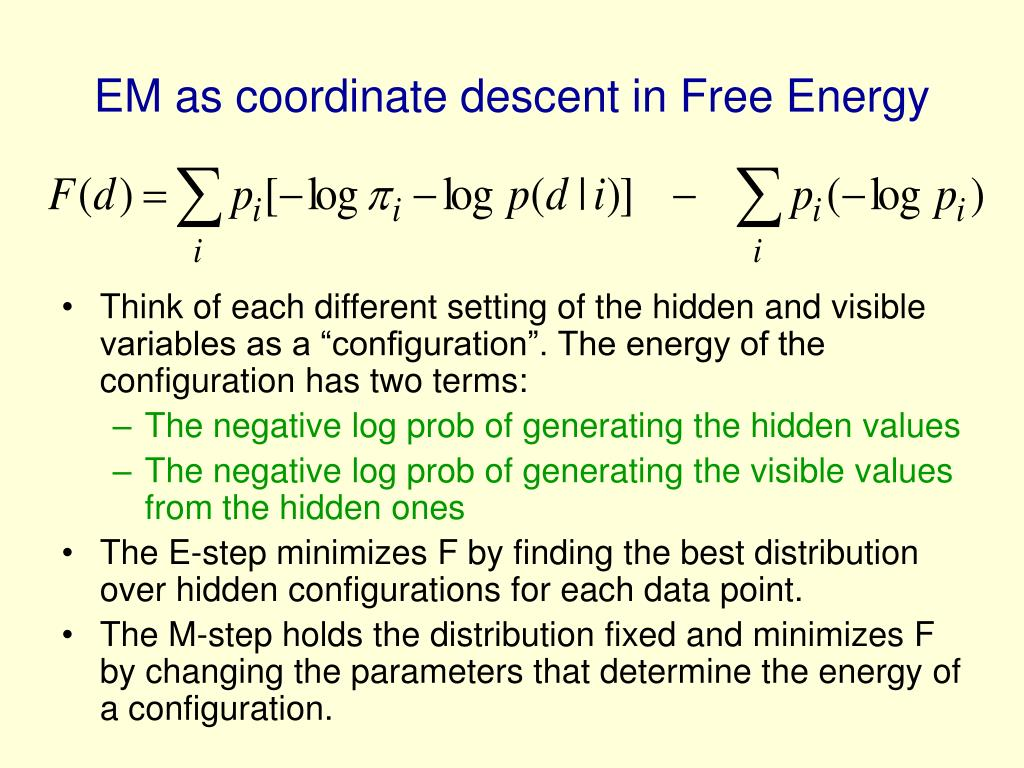 EM as coordinate descent in Free Energy