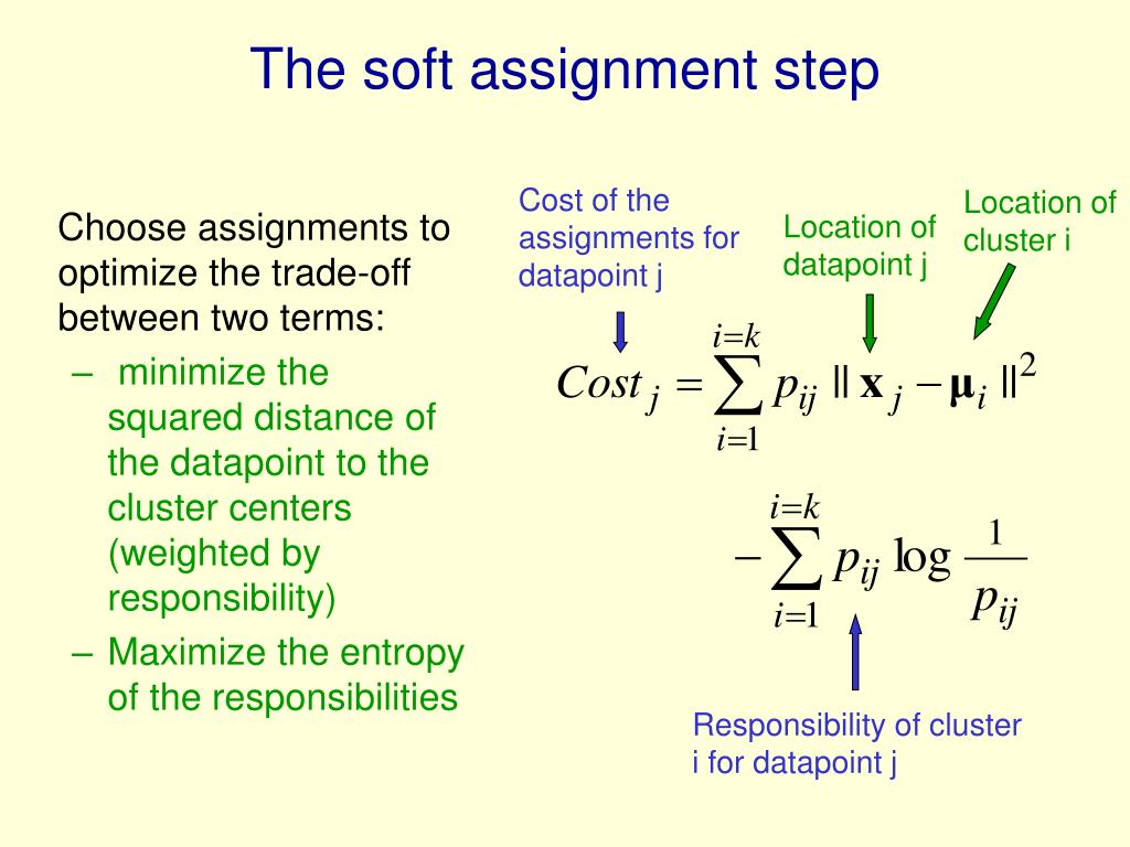 The soft assignment step