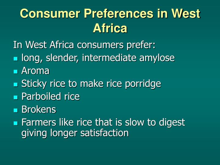 Consumer preferences in west africa