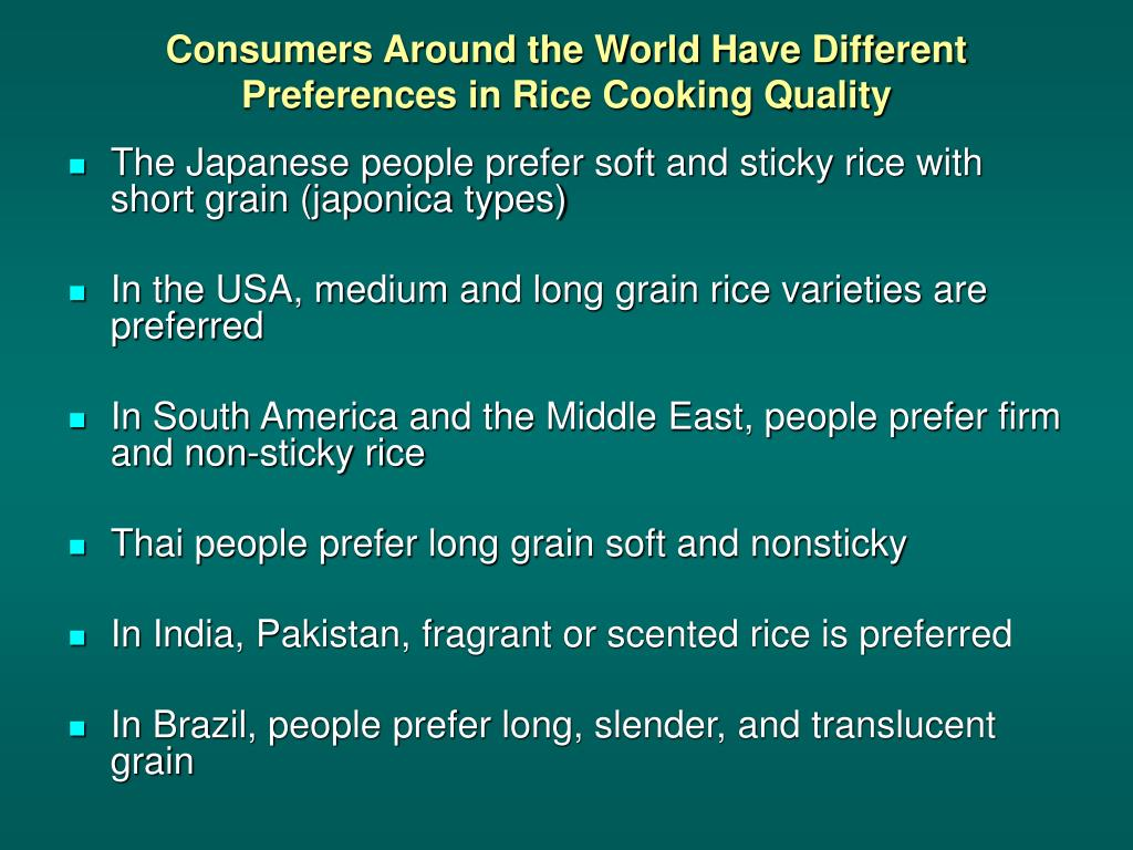 Consumers Around the World Have Different Preferences in Rice Cooking Quality