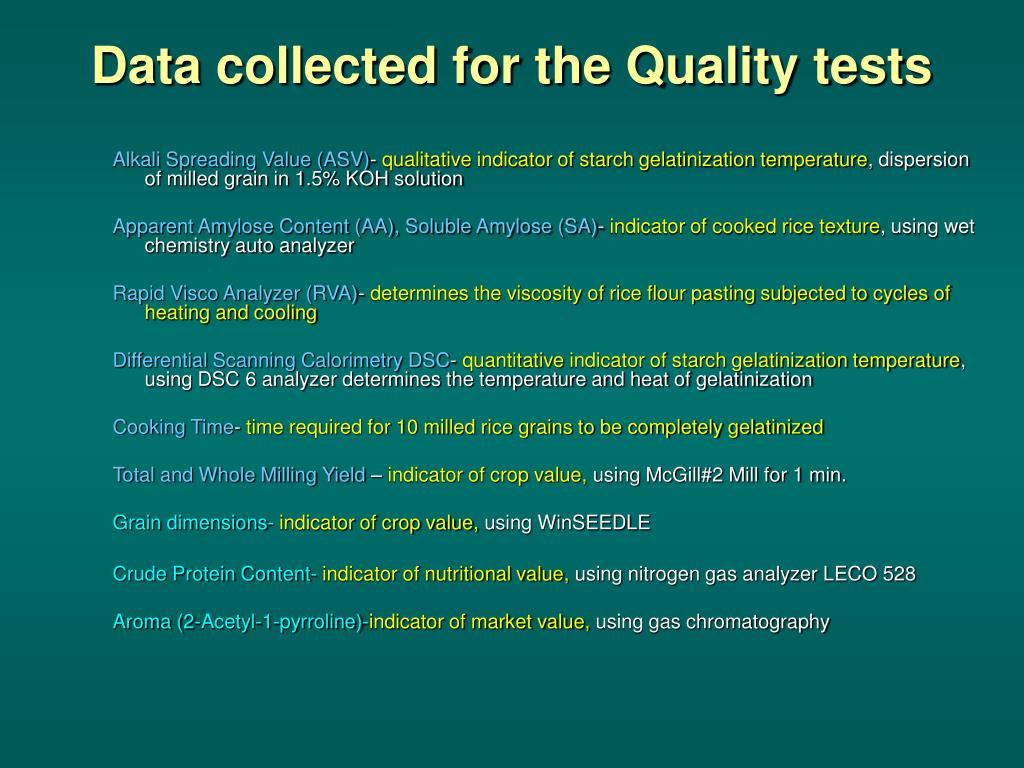 Data collected for the Quality tests
