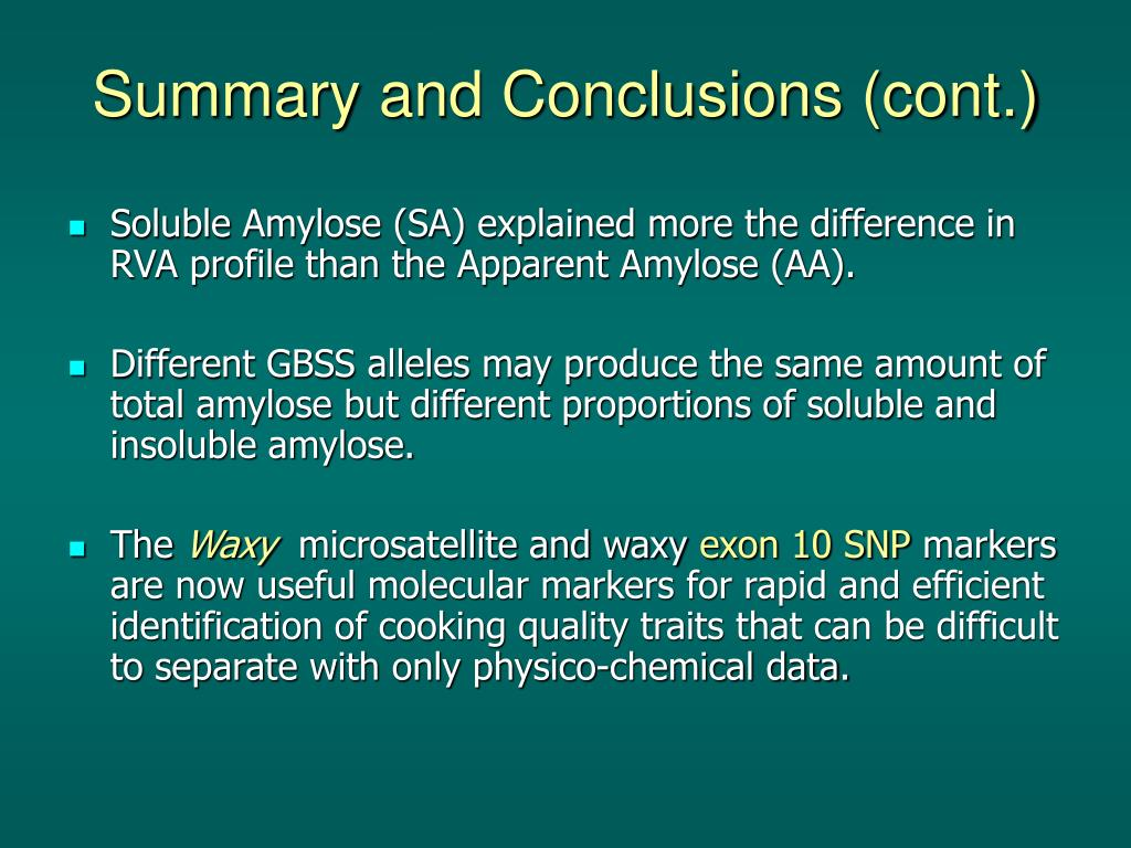 Summary and Conclusions (cont.)