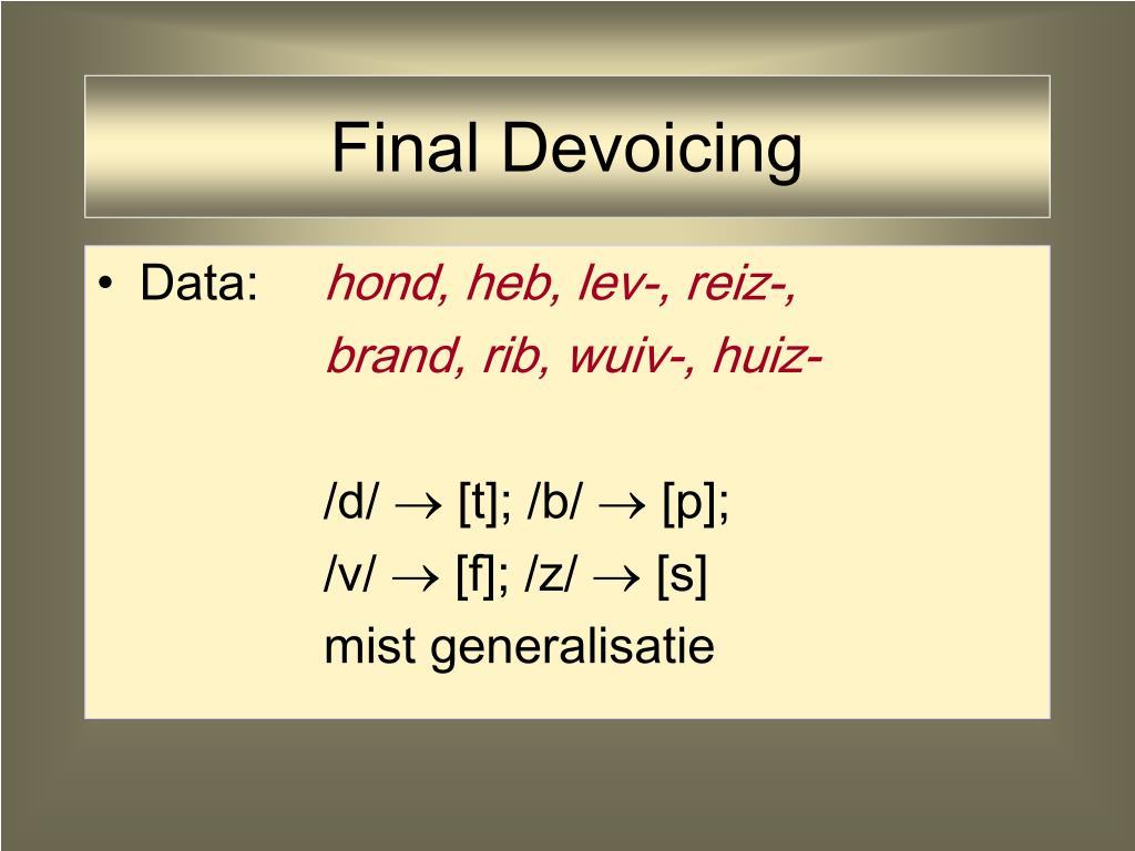 Final Devoicing