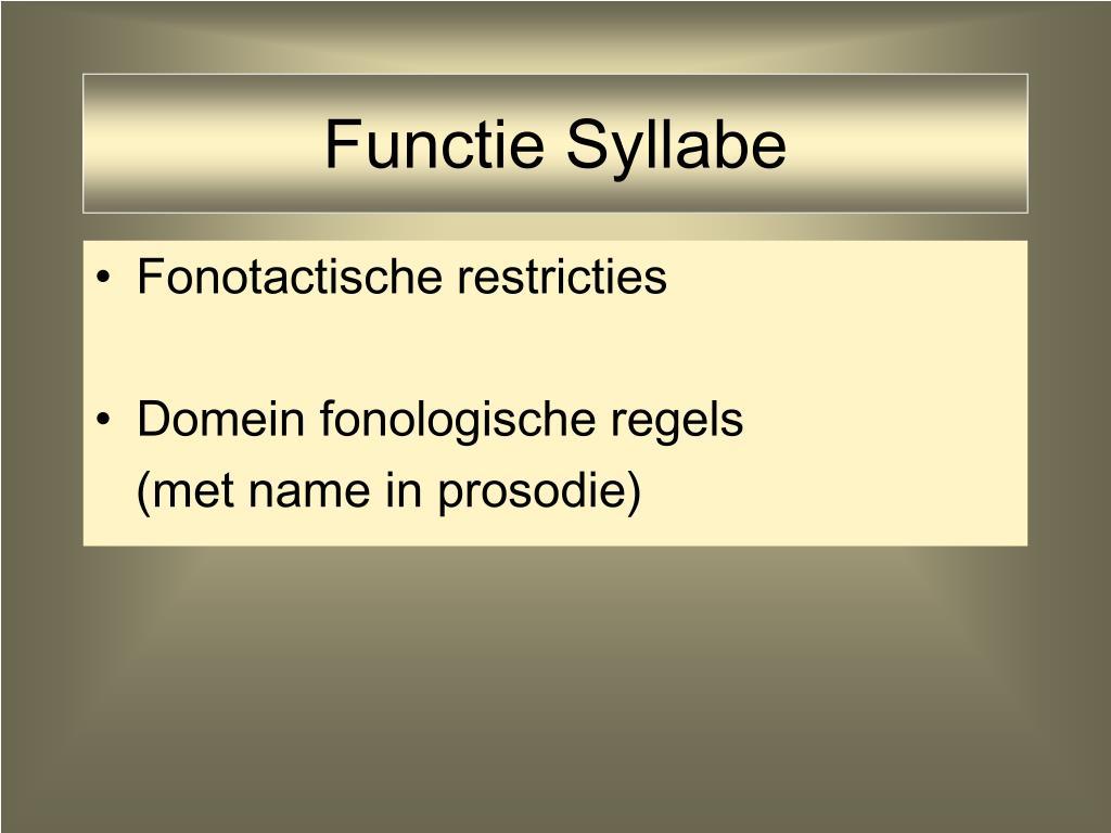 Functie Syllabe