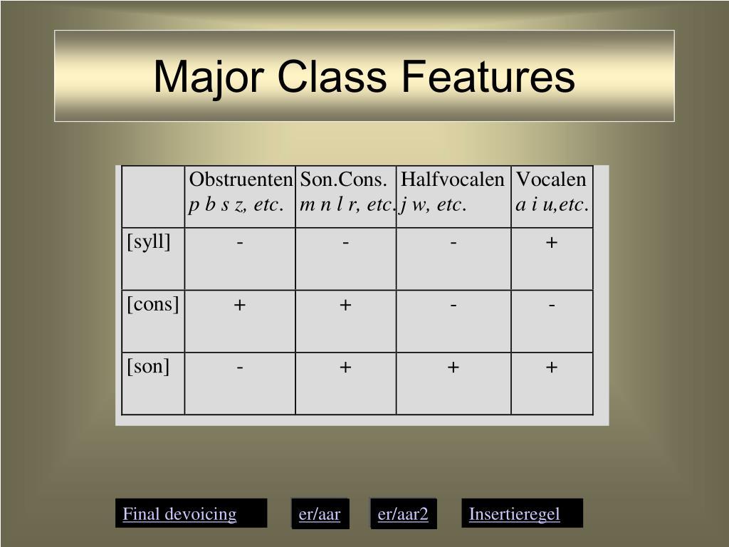 Major Class Features
