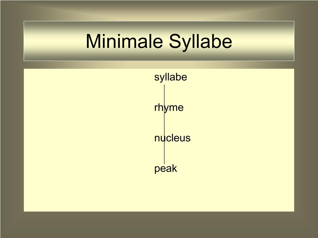 Minimale Syllabe