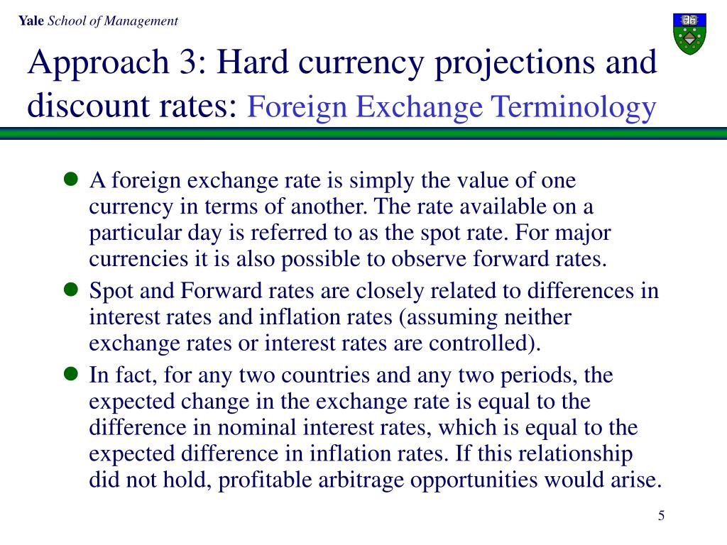 Approach 3: Hard currency projections and discount rates: