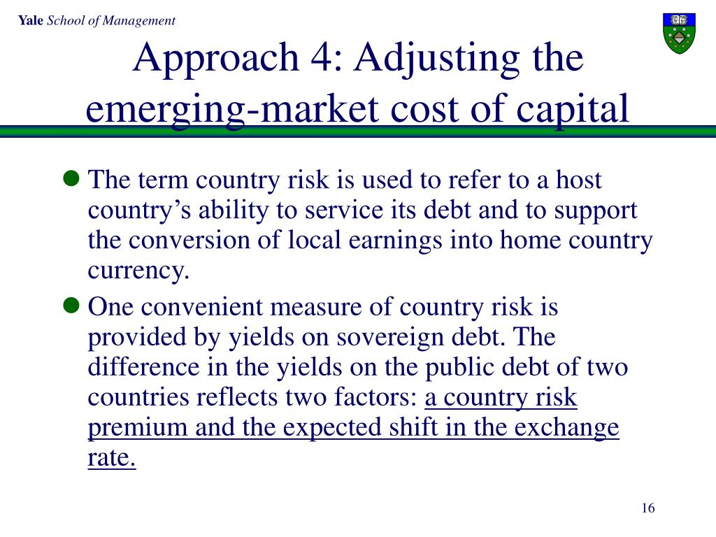 Approach 4: Adjusting the emerging-market cost of capital
