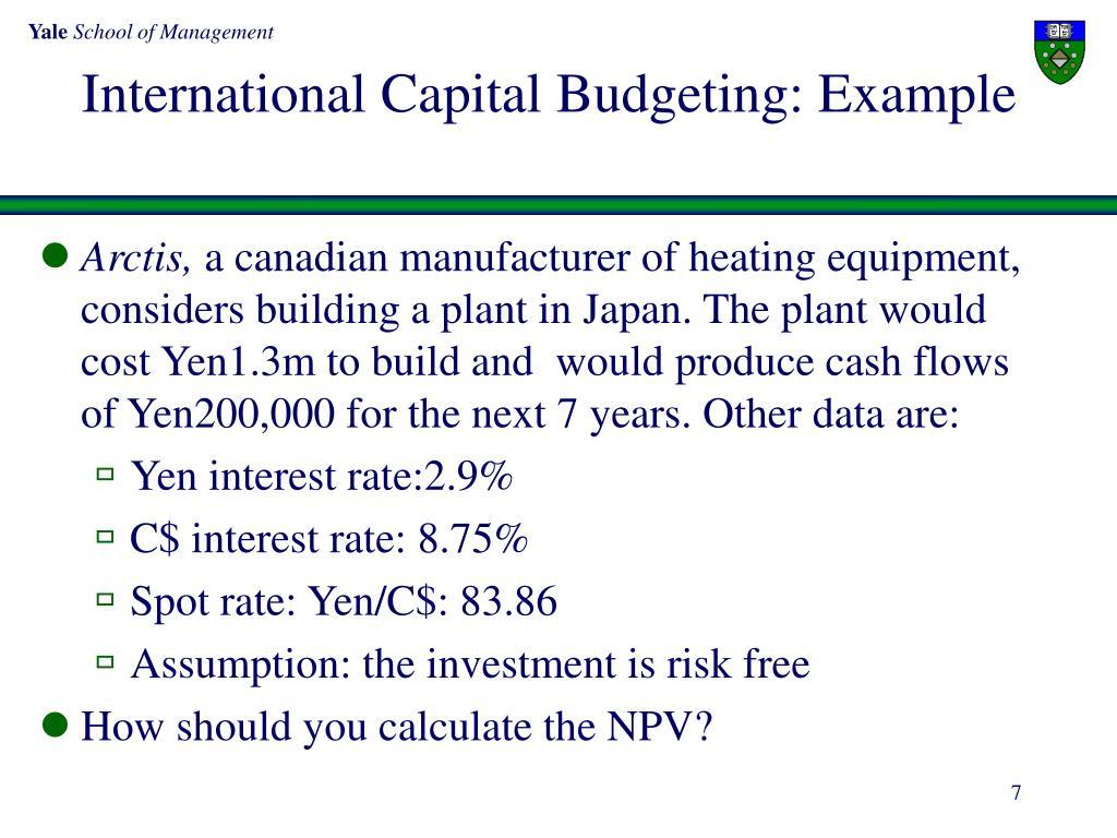 International Capital Budgeting: Example