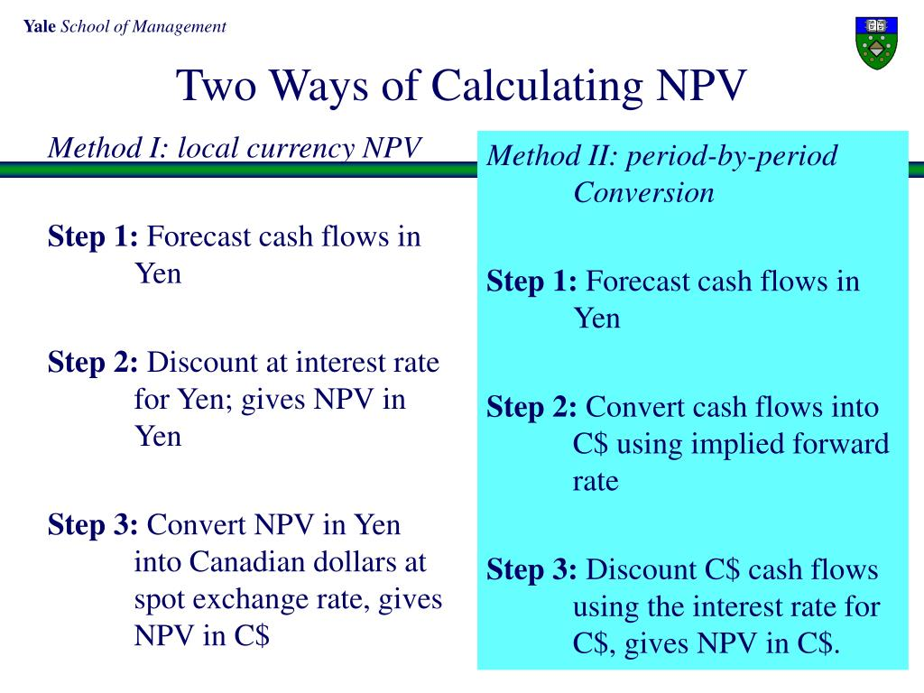 Method I: local currency NPV