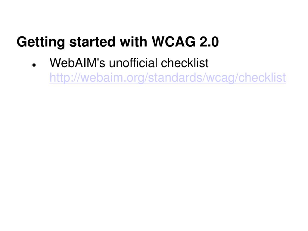 Getting started with WCAG 2.0