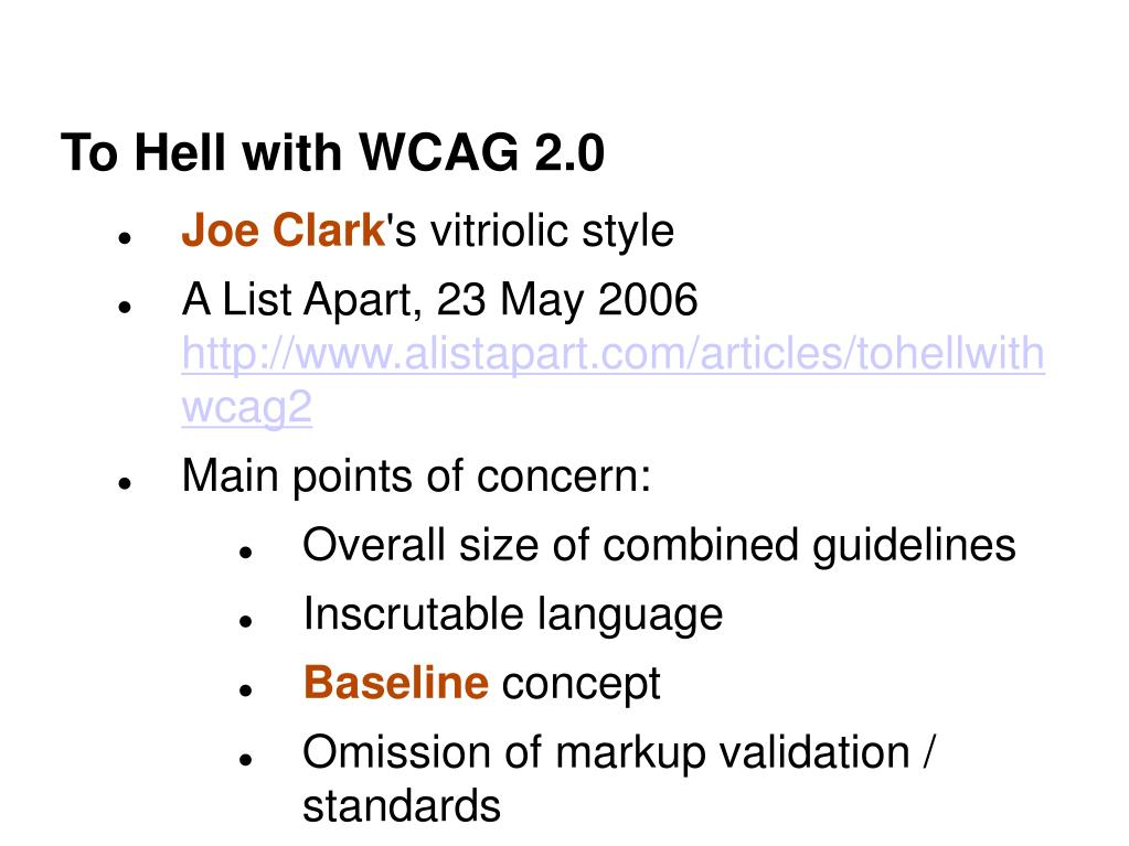 To Hell with WCAG 2.0