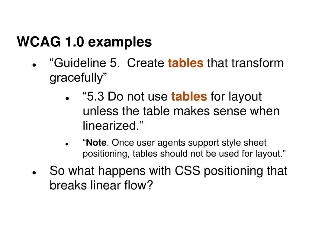 WCAG 1.0 examples