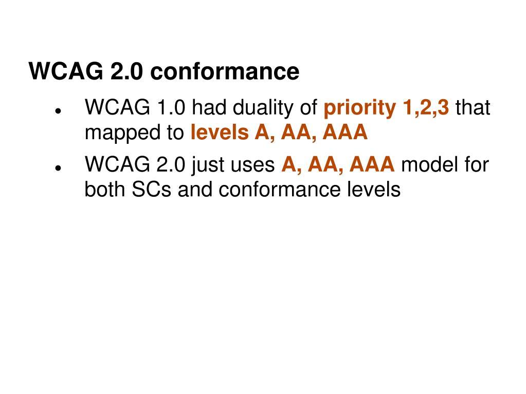 WCAG 2.0 conformance