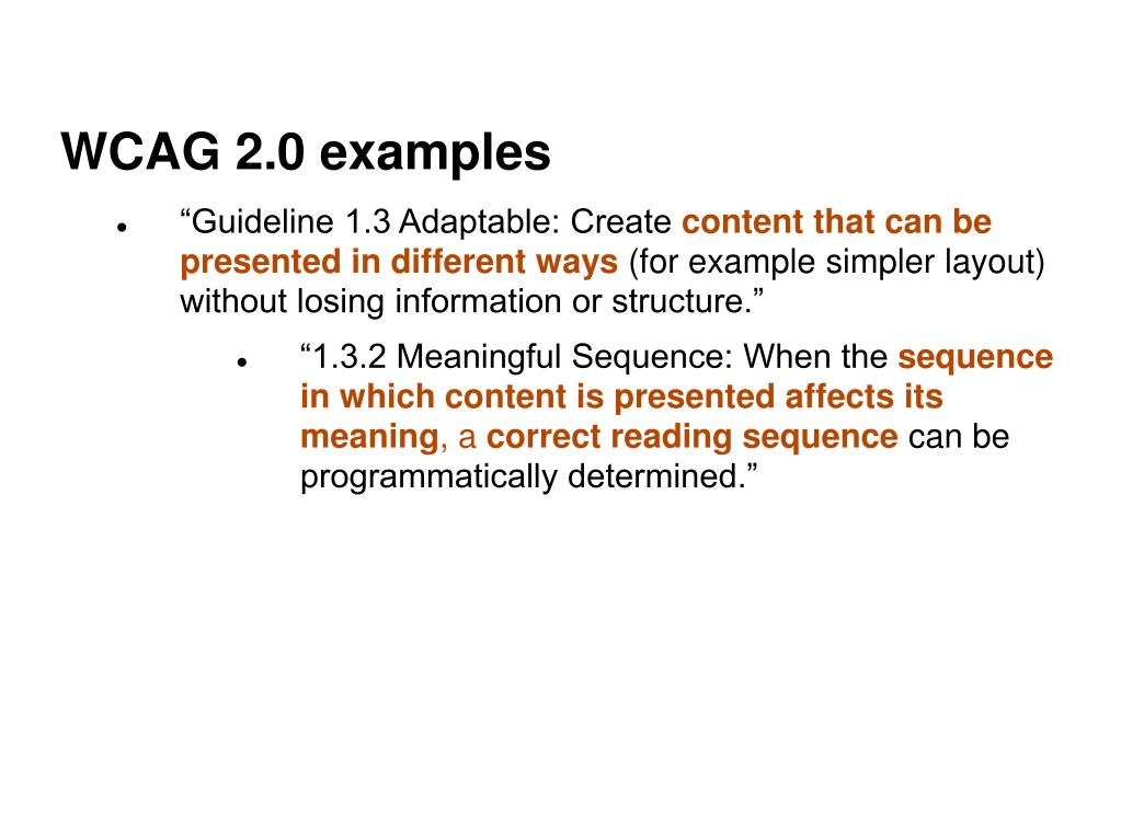 WCAG 2.0 examples