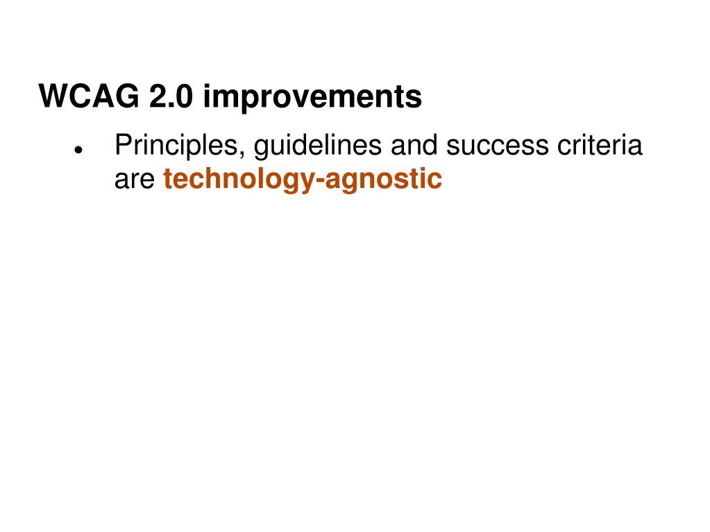 WCAG 2.0 improvements